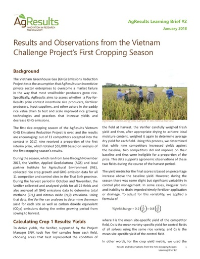Results and Observations from the Vietnam Challenge Project's First Cropping Season