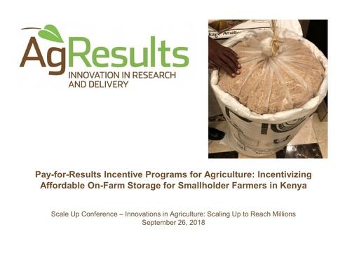 Incentivizing Affordable On Farm Storage for Smallholder Farmers in Kenya