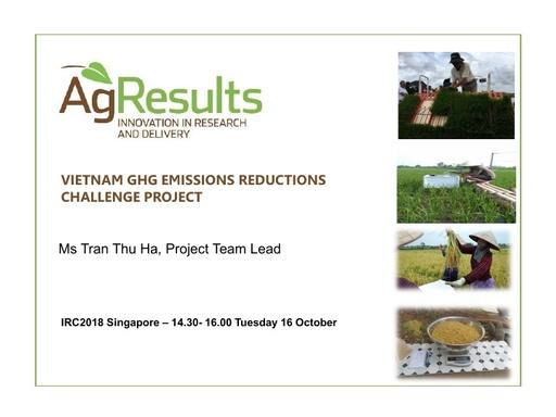 Vietnam GHG Emissions Reduction Challenge Project: IRRI Congress 2018