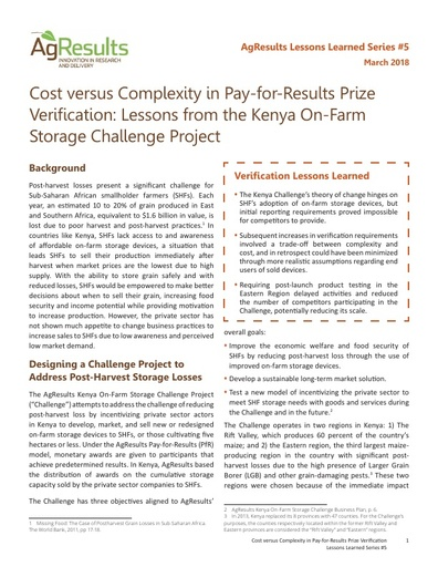 Cost versus Complexity in Pay-for-Results Prize Verification: Lessons from the Kenya On-Farm Storage Challenge Project