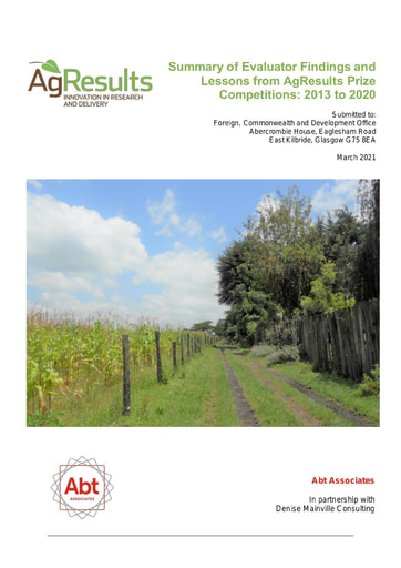 Summary of Evaluator Findings and Lessons from AgResults Prize Competitions: 2013-2020
