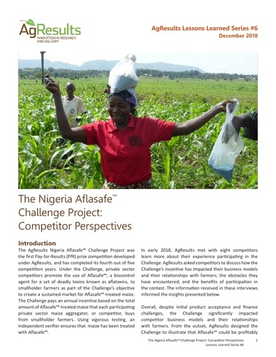 The Nigeria Aflasafe Maize Challenge: Competitor Perspectives