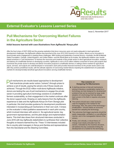 Evaluator Lessons Learned #2: Pull Mechanisms for Overcoming Market Failures in the Agriculture Sector