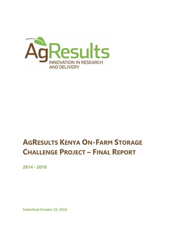 Final Report: Kenya On-Farm Storage Challenge Project