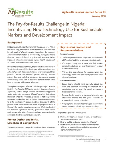 The Pay-for-Results Challenge in Nigeria: Incentivizing New Technology Use for Sustainable Markets and Development Impact