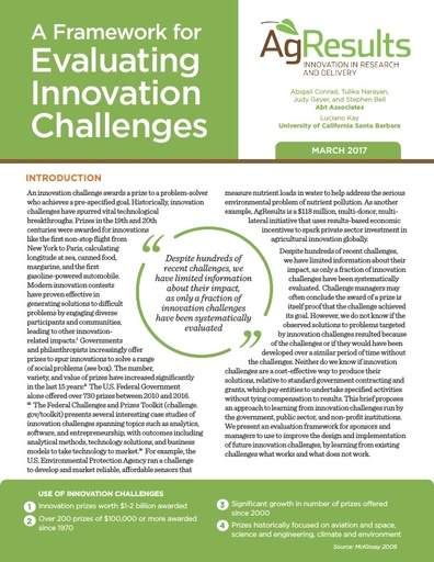 A Framework for Evaluating Innovation Challenges