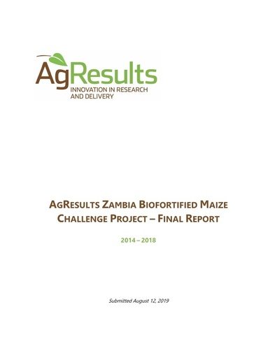 Final Report: Zambia Biofortified Maize Challenge Project