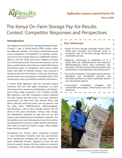 The Kenya On-Farm Storage Pay-for-Results Contest: Competitor Responses and Perspectives