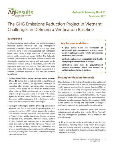 Learning Brief #1: The GHG Emissions Reduction Project in Vietnam: Challenges in Defining a Verification Baseline