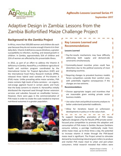 Adaptive Design in Zambia: Lessons from the Zambia Biofortified Maize Challenge Project