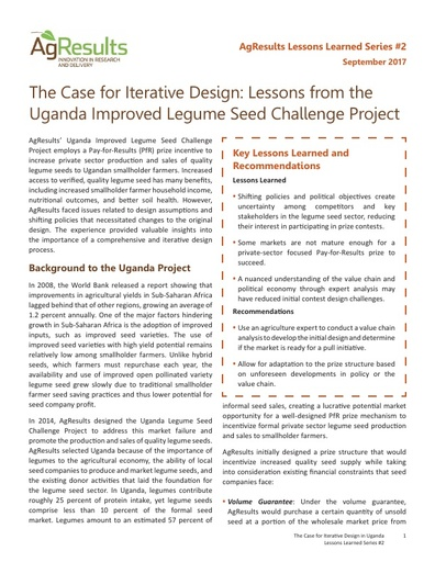 The Case for Iterative Design: Lessons from the Uganda Improved Legume Seed Challenge Project