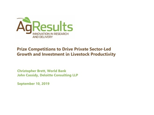 Presentation: Prize Competitions to Drive Livestock Productivity